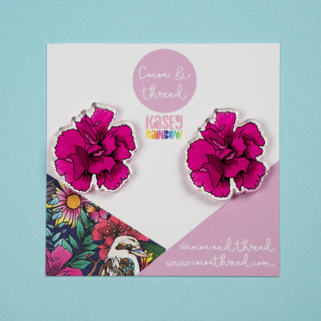 Statement earrings flower pink