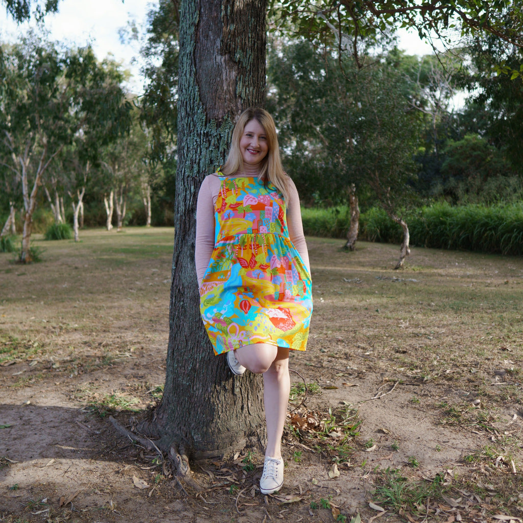 Sundress in the tie up style for breastfeeding in the sunshine state of mind print