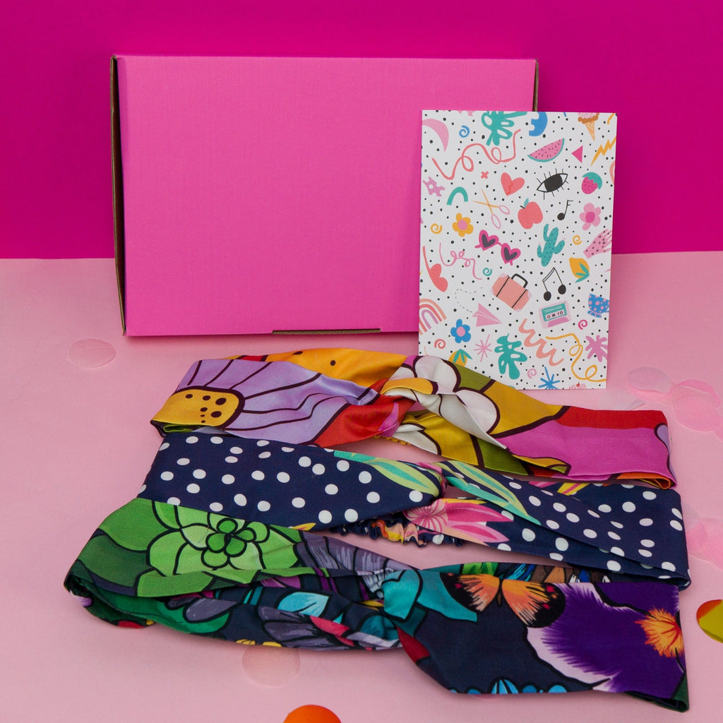 Garden print twist headband gift box with greeting card, made in Australia