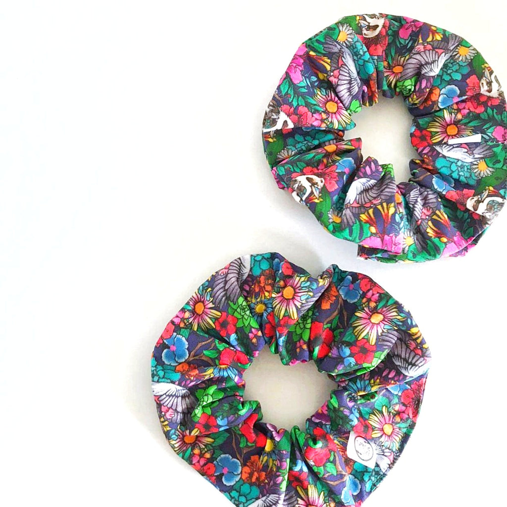 Garden of my Dreams Kasey Rainbow Print Handmade Scrunchie