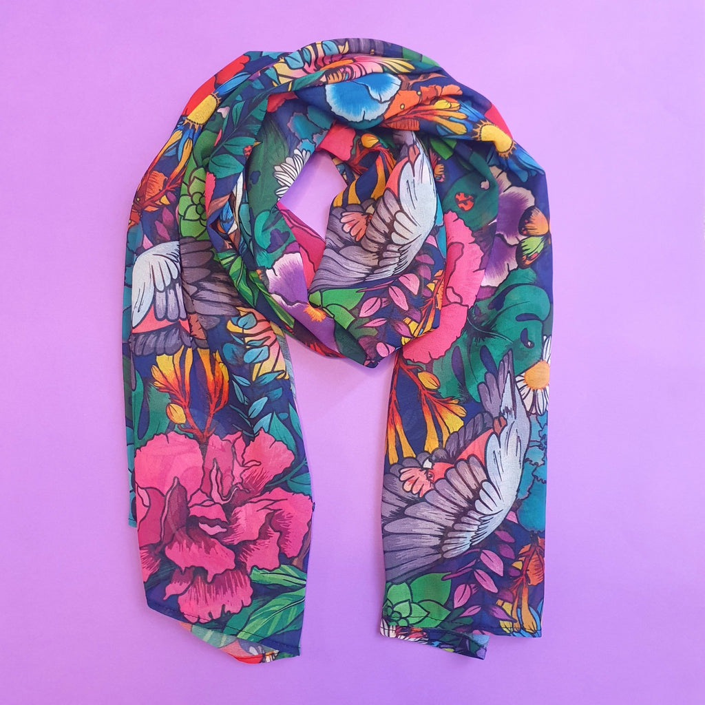 Ladies garden of my dreams scarf made from navy, pink, black and green print.  Designed and made in Australia.