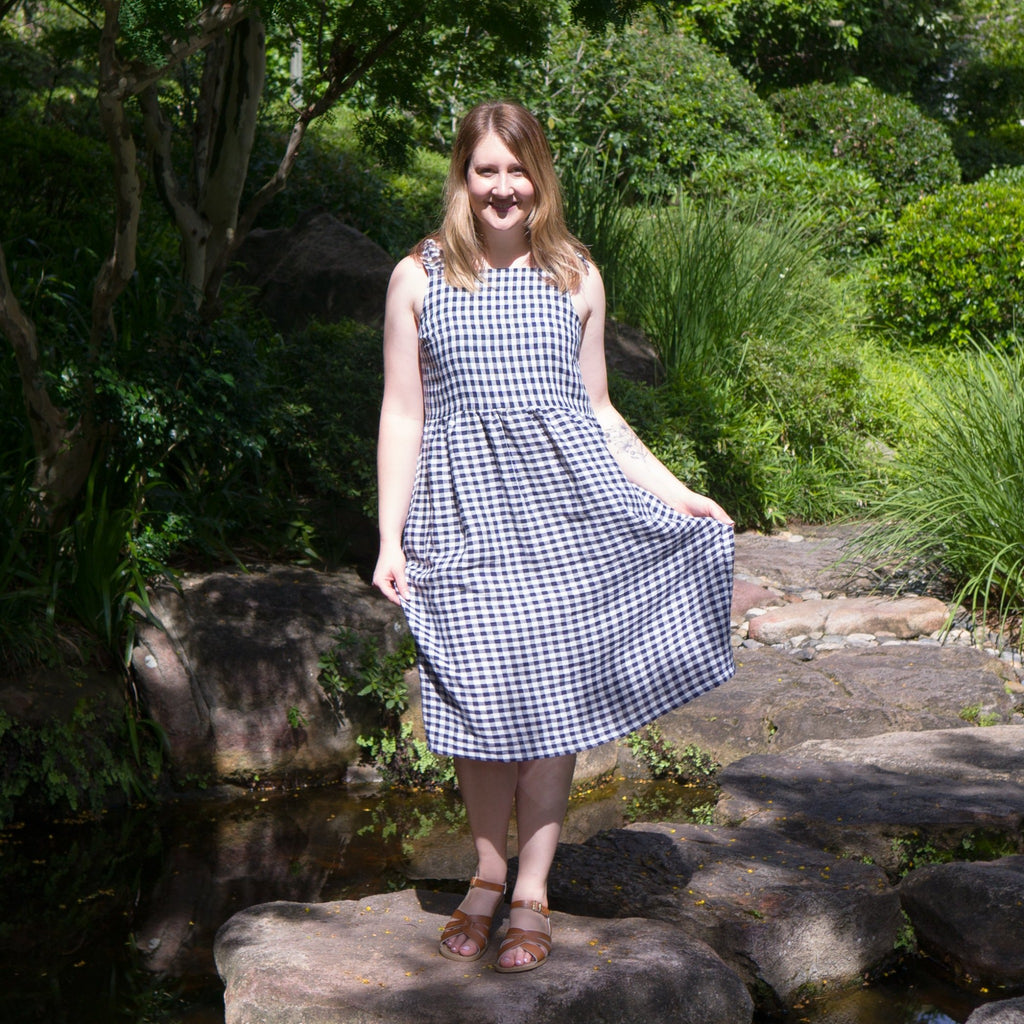 Ladies sundress made from navy and white gingham linen fabric