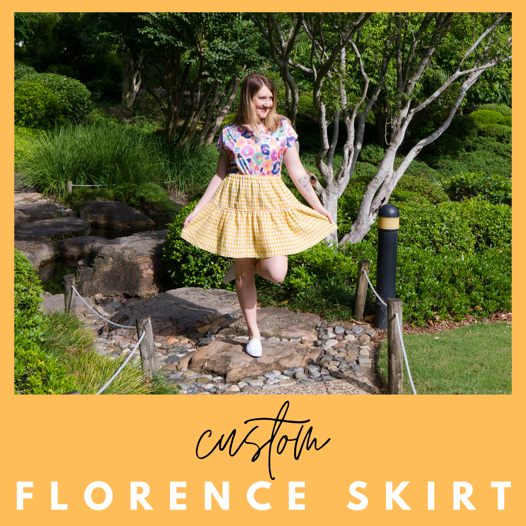 Ladies summer skirt in mustard gingham linen fabric with coordinating leopard print ladies top