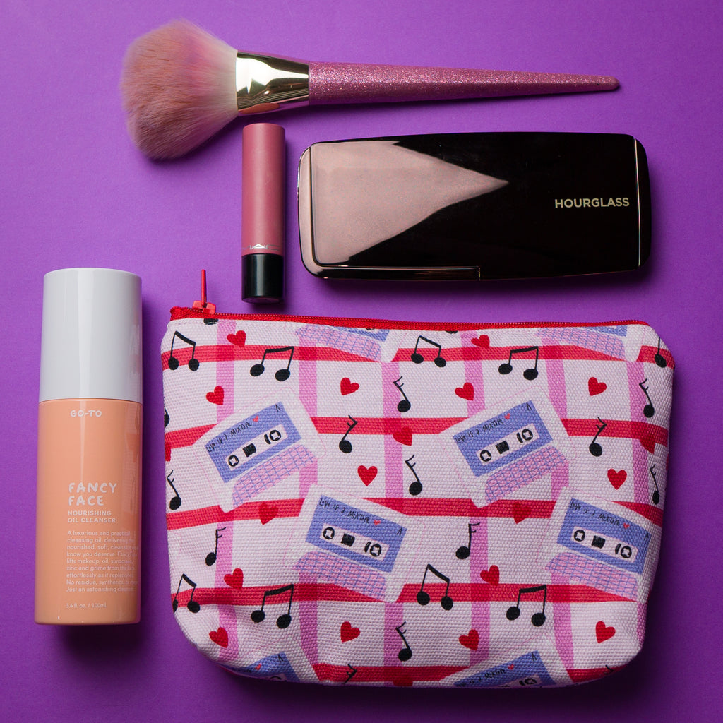 Makeup pouch or cosmetic bag in mixtape print