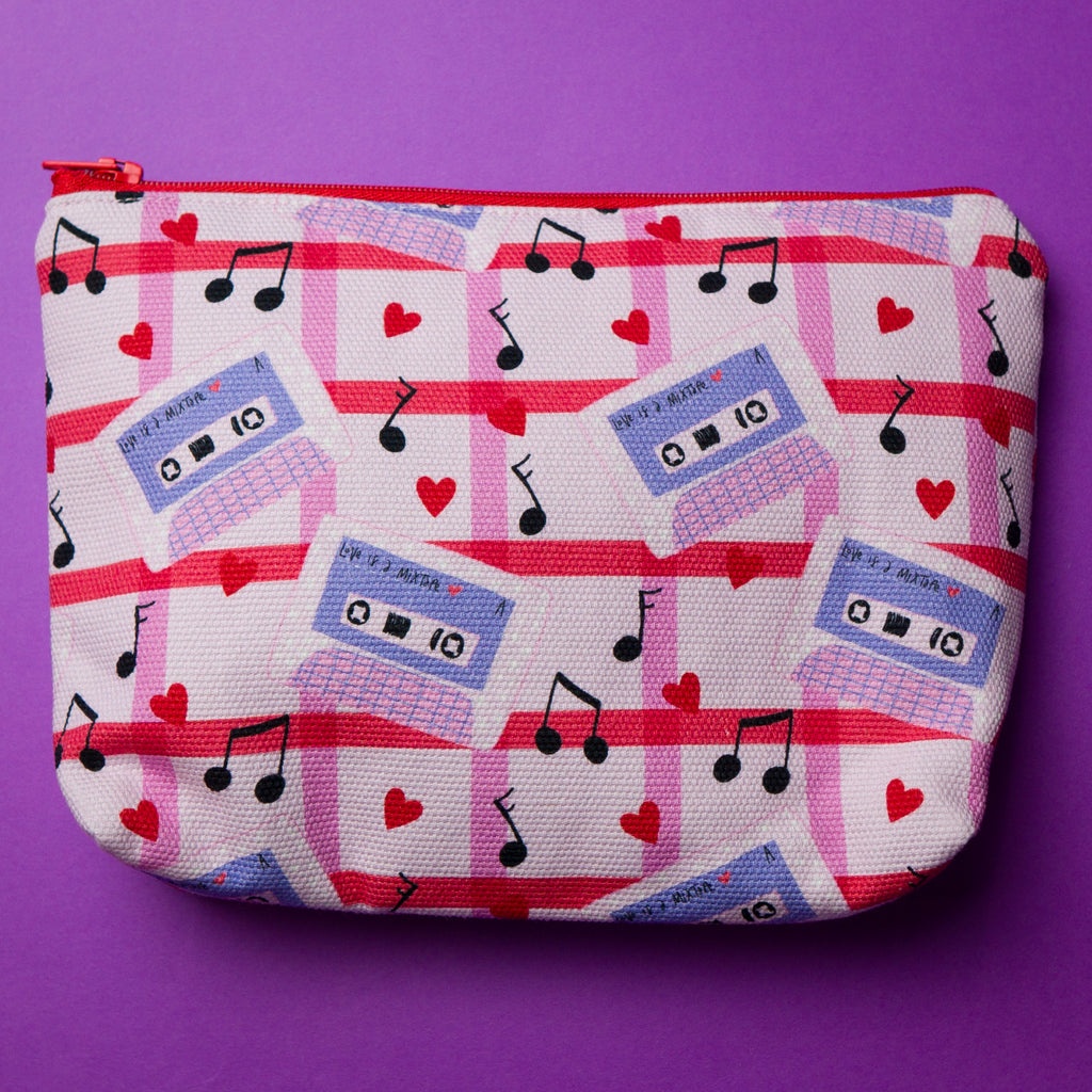 Cosmetic pouch or makeup bag handmade in Australia in mixtape design