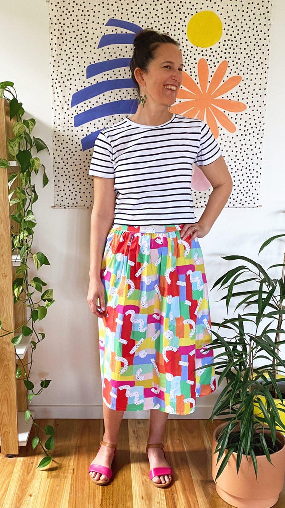 Ladies Midi Length Skirt in spring speckled rainbows print