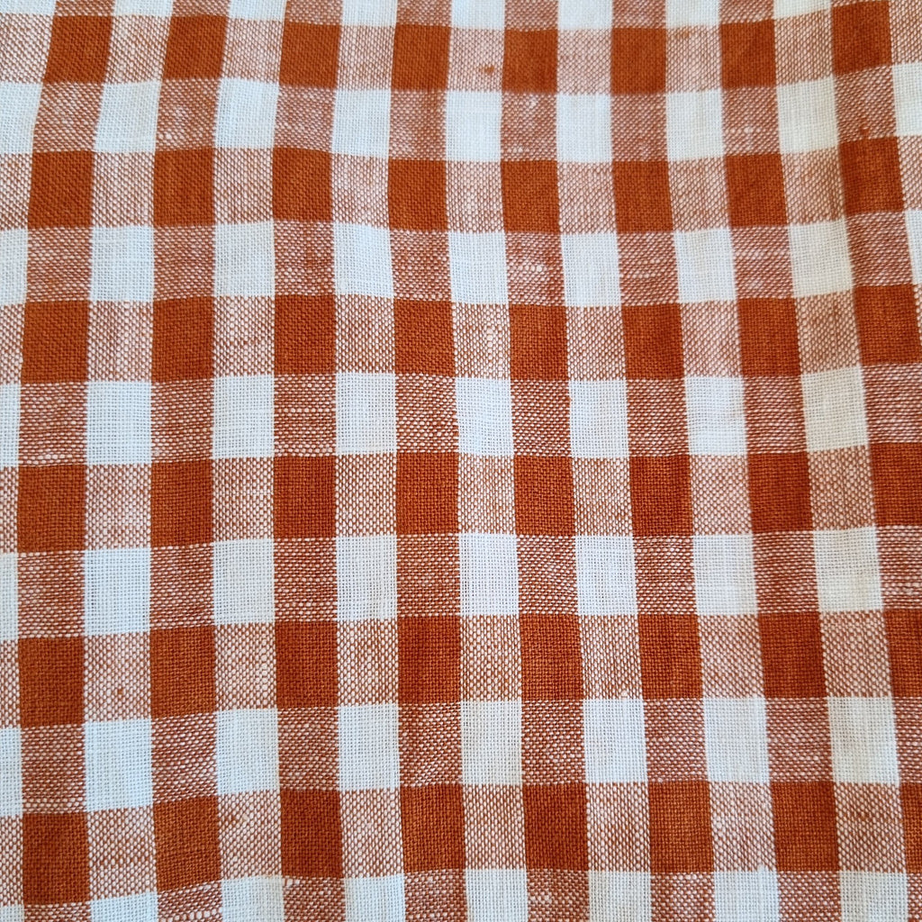 Paprika and white linen gingham fabric