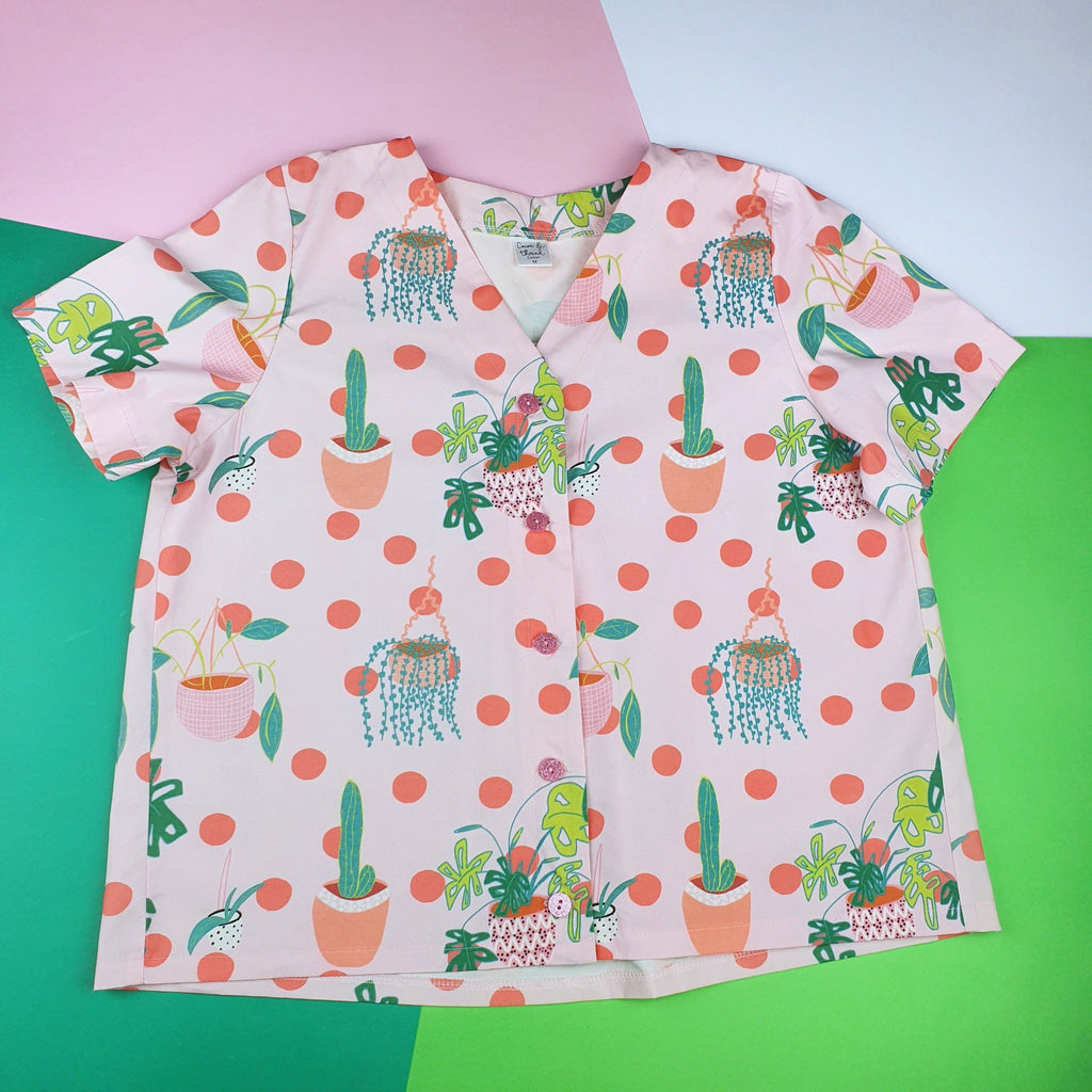 Plant lovers button up shirt front view