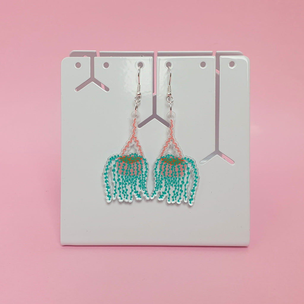 string of pearls plant hook earrings