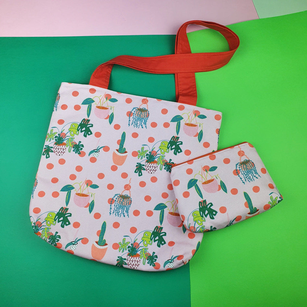 Plant lovers tote and matching pouch