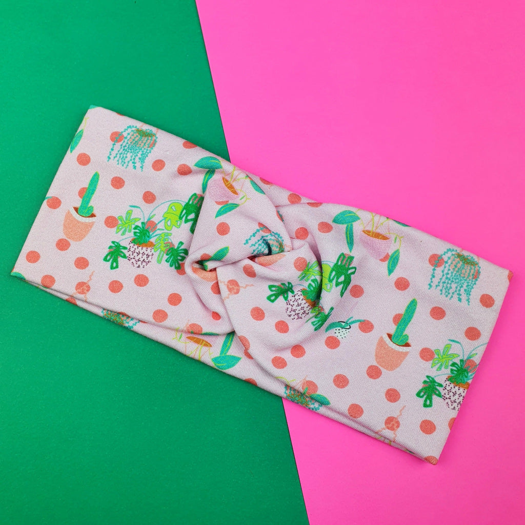 plant lovers wideknot headband in green and pink cotton fabric