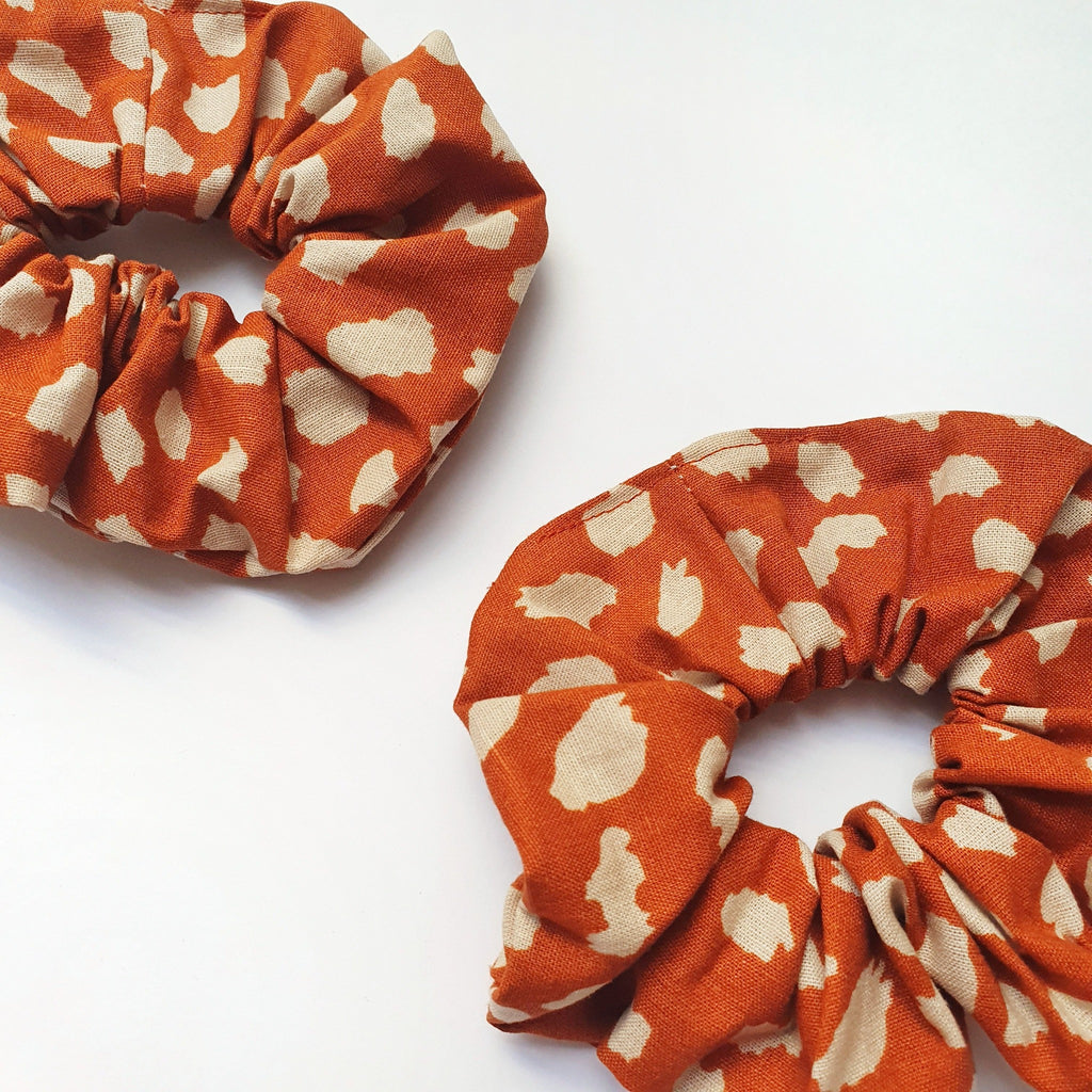 Rust Coloured Handmade Linen Scrunchie