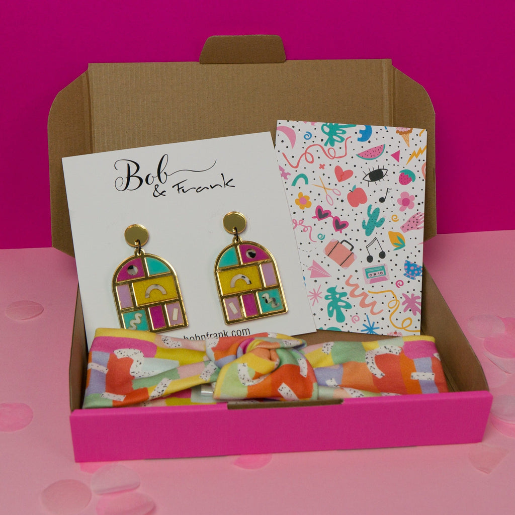 Speckled rainbows gift box with statement arch earrings and headband