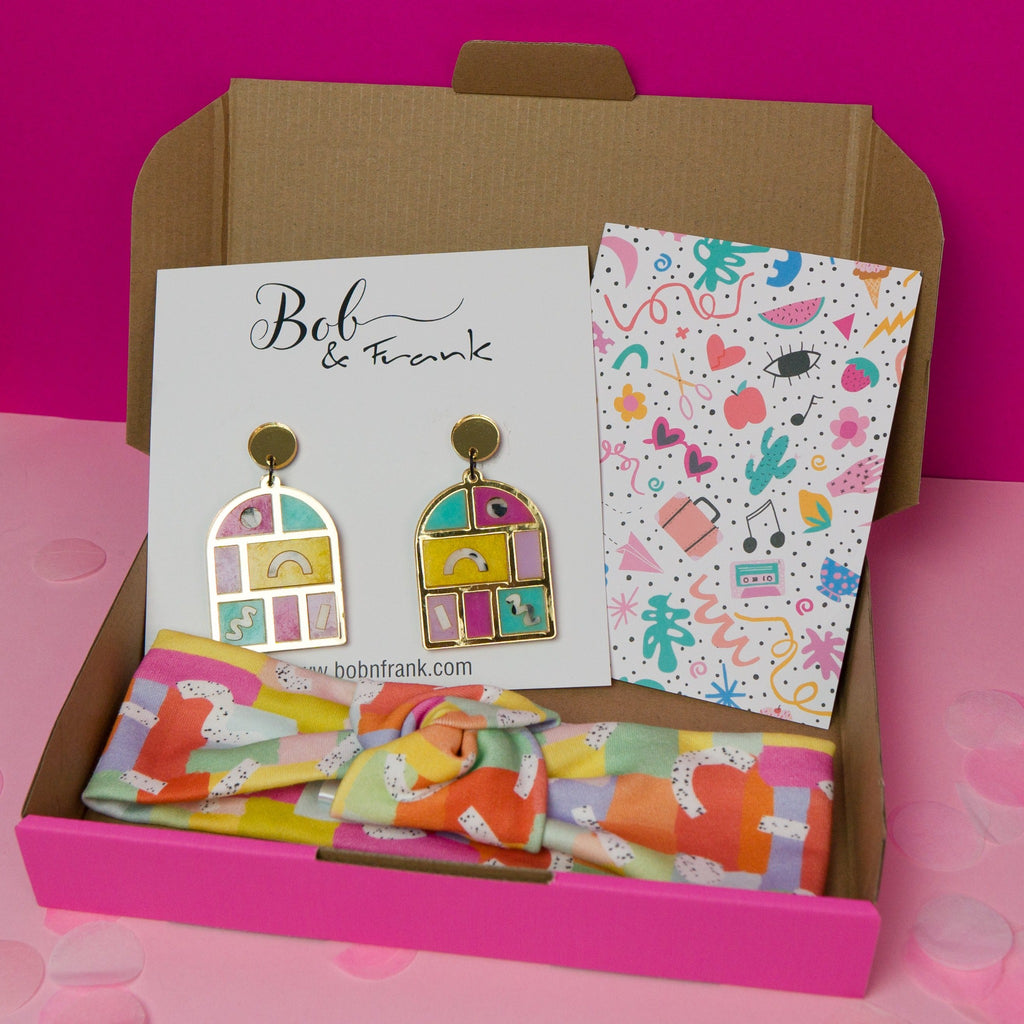 Speckled rainbows gift box with statement arch earrings and headband and greeting card