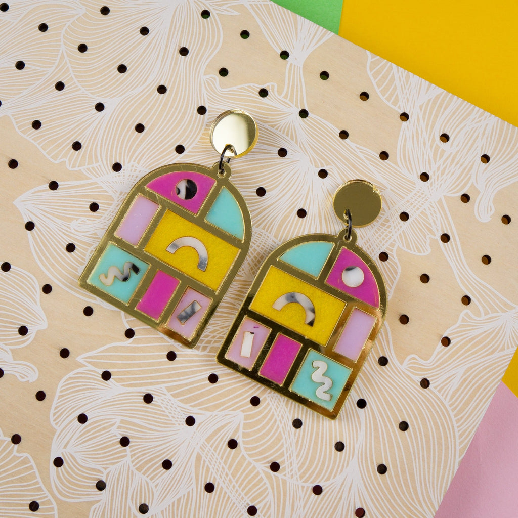 Statement dangle earrings on Bon Maxie earring board