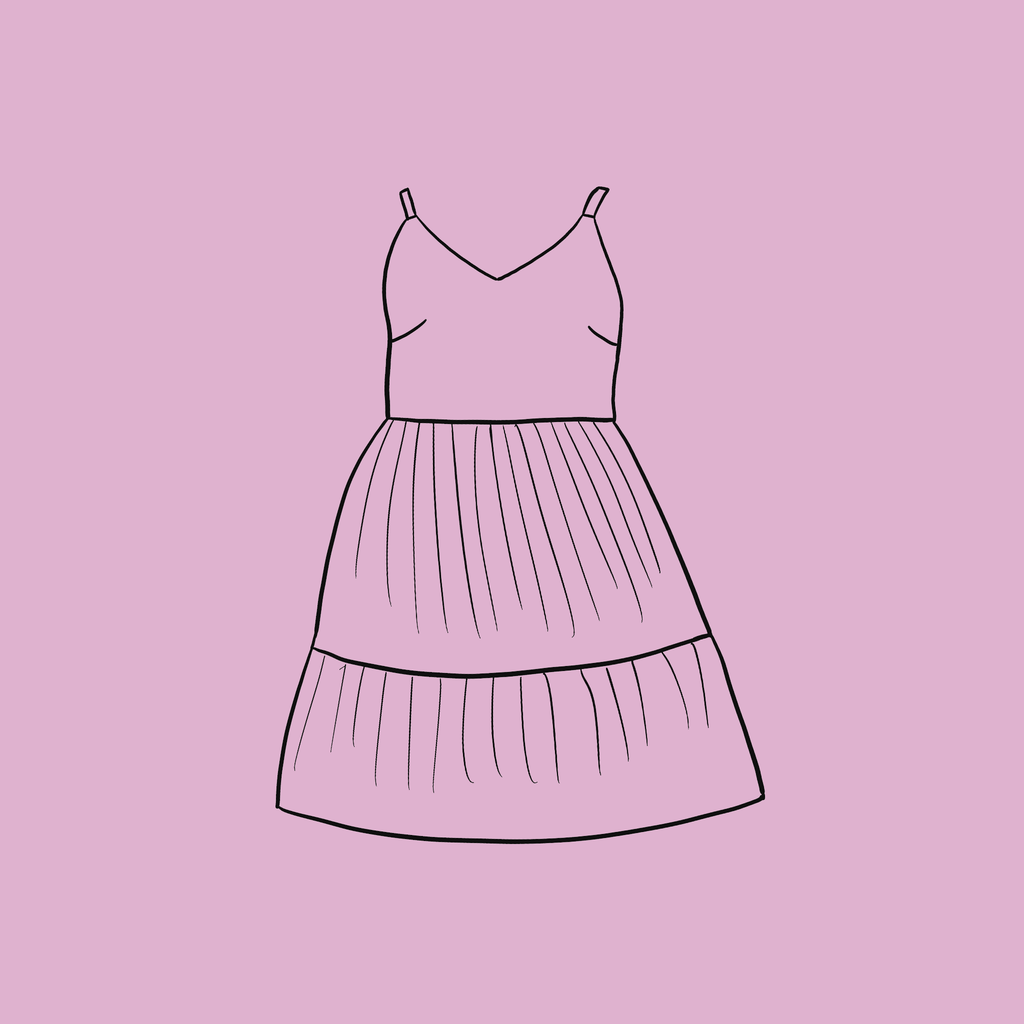 Summer dress outline drawing