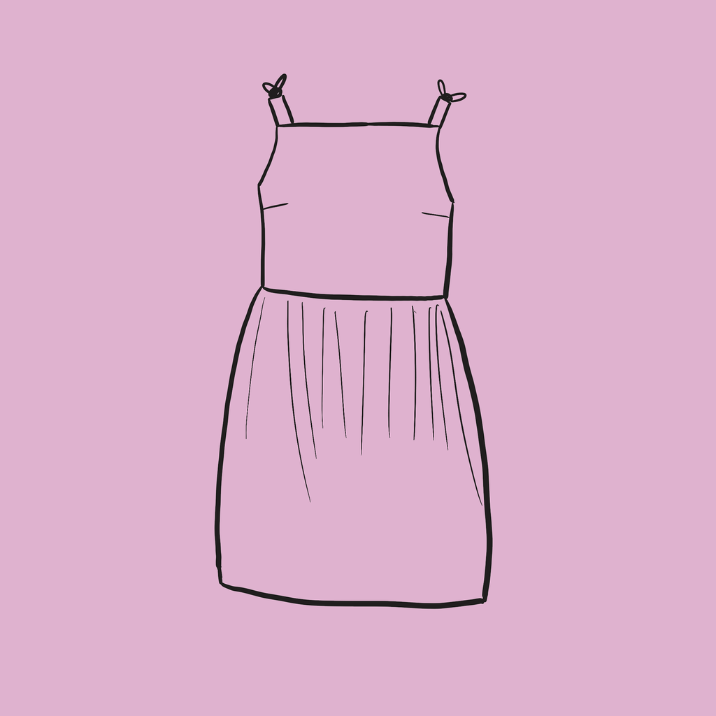 Tie up dress outline drawing