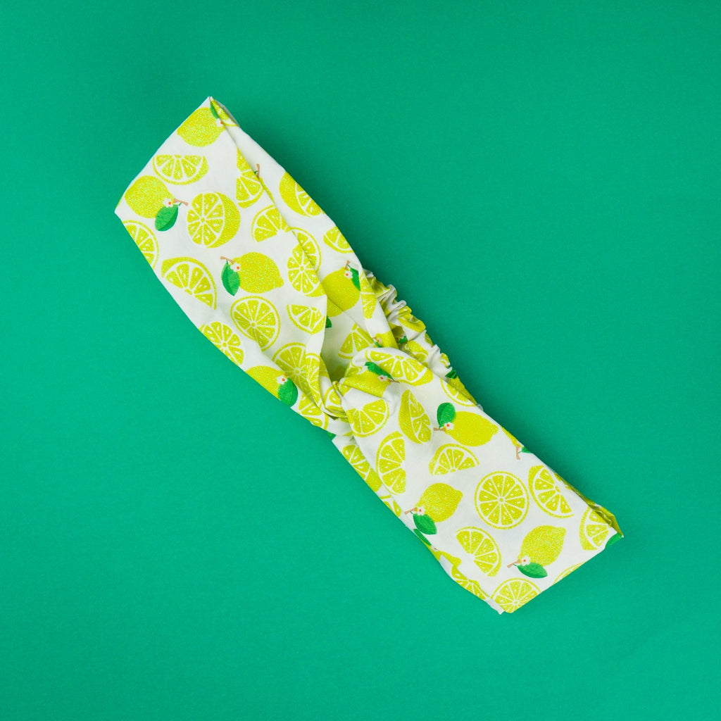 Ladies fashion headbands Australia with glitter lemon print.