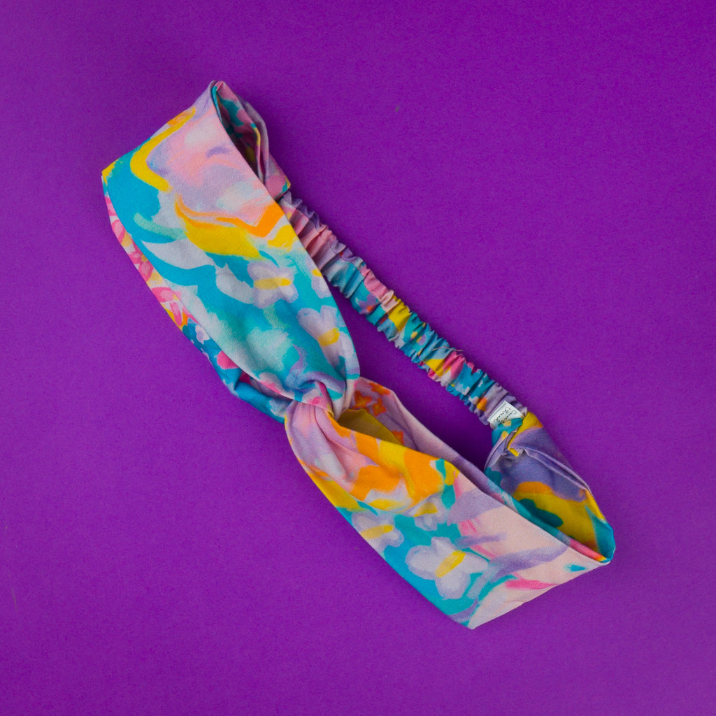 Headband for ladies fashion, featuring pastel blue, yellow and purple.