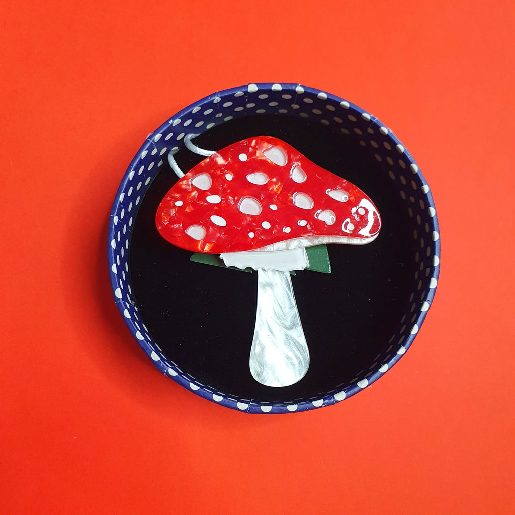 Well Spotted Red Mushroom Brooch from Erstwilder Woodlands Collection