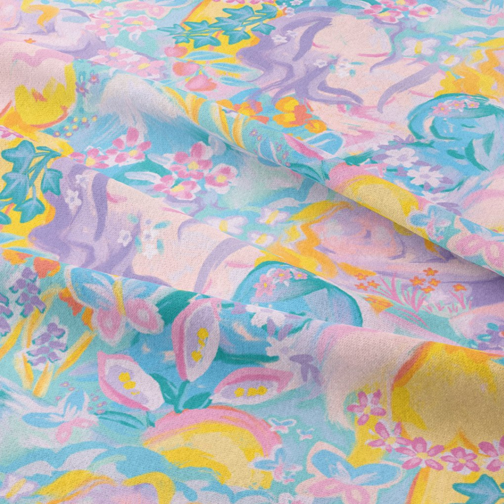 When she Wakes fabric design by Ellie whittaker in pastel pink, purple, yellow and blue