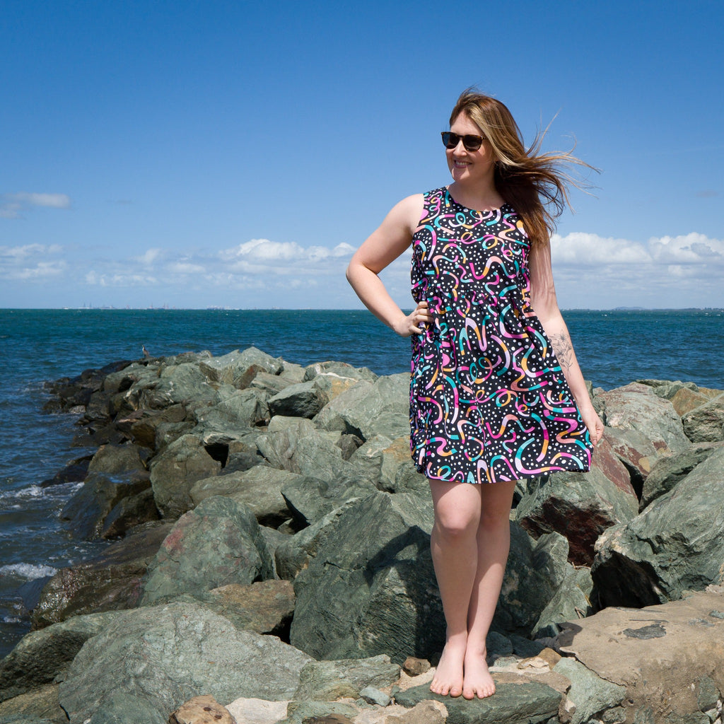 Ladies summer sundress in black, pink, yellow, blue, green and polka dots.  Handmade in Australia.