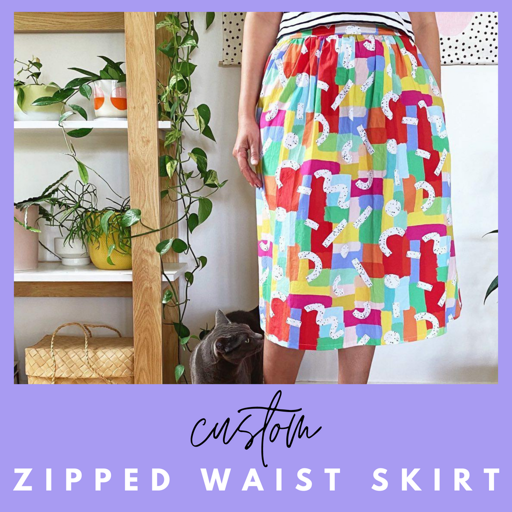 custom ladies midi skirt in speckled rainbow print