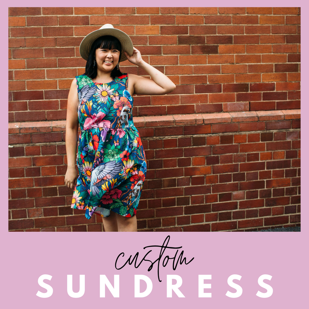 Custom sundress in garden of my dreams print