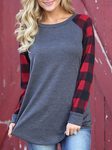 Casual  Plaid Pattern Shirts & Tops