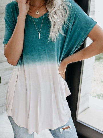 Casual V Neck Ombre/tie-Dye Shirts & Tops