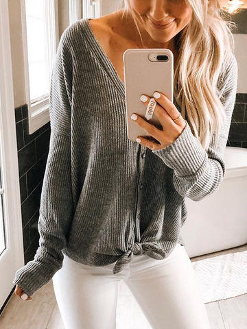 Buttoned Solid Knitted Casual Sweater