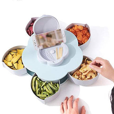 Funny Petal-Shaped Rotating Snack Serving Tray Candy Nut Box Party Snack Tray with Phone Holder