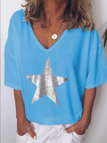 Casual V-neck Hot Gold Stars Loose T-shirts