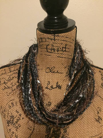 Earth Tone Fiber Necklace/Scarf in Brown & Black With Metallic Shimmer