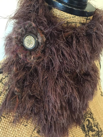 Chocolate Brown Crochet Faux Fur Scarflette