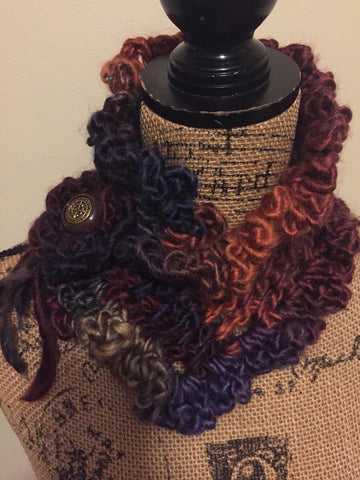Earthtone Crochet Chunky Scarflette with Vintage Button