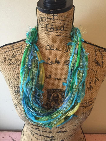 Blue Green Fiber Necklace/Yarn with Adjustable Bead