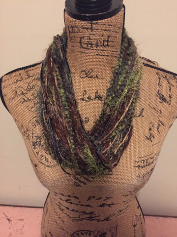 Metallic Fiber Necklace with Adjustable Bead OliveGreen/Brown