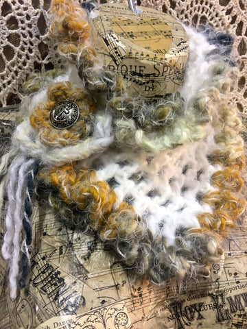 Crochet Cream & Tan Scarflette with Vintage Anchor Button