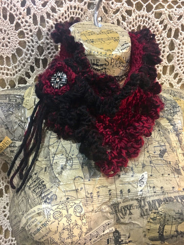 Red & Black Crochet Victorian Scarflette with Rhinestone Button