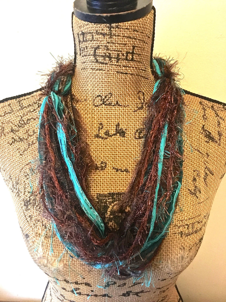 Teal/Brown Yarn Fiber Necklace Scarf with Adjustable Bead