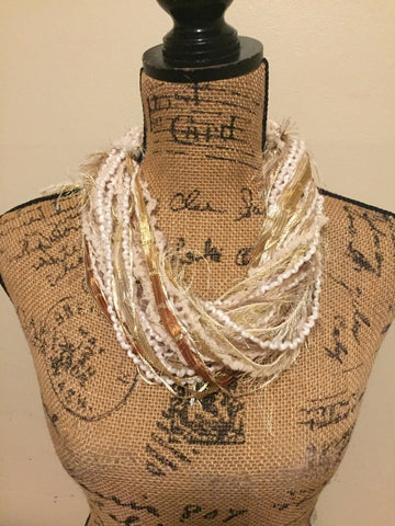 Festive Cream Gold Fiber Necklace with Adjustable Bead