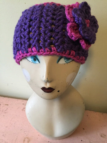 Crochet Wide Headband in Pink/Purple with Detachable Flower and Vintage Button Closure