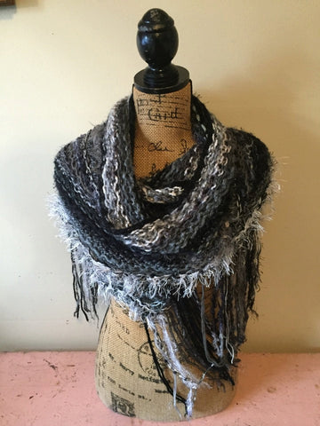 Modern Chic Classy Elegant Knit Wrap/Scarf/Shawl with Fringe in Black/Grey/White