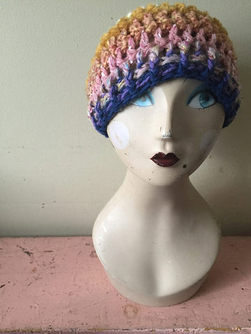 Crochet Slouch/Slouchy Hat Pink/Gold/Cream/Purple