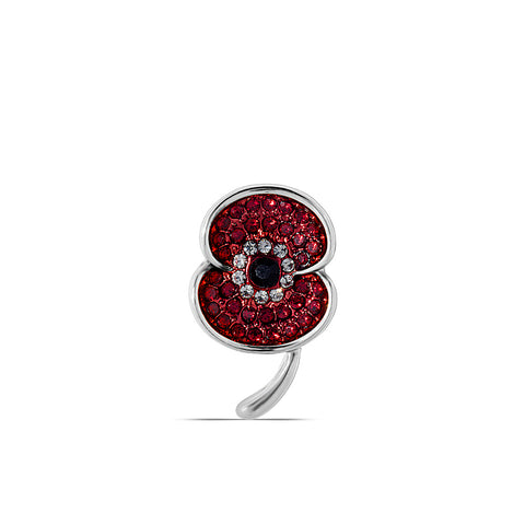The Poppy Collection Vintage Lapel Pin Silver Tone