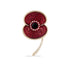 Beaded Edge Crystal Gold Tone Poppy Brooch