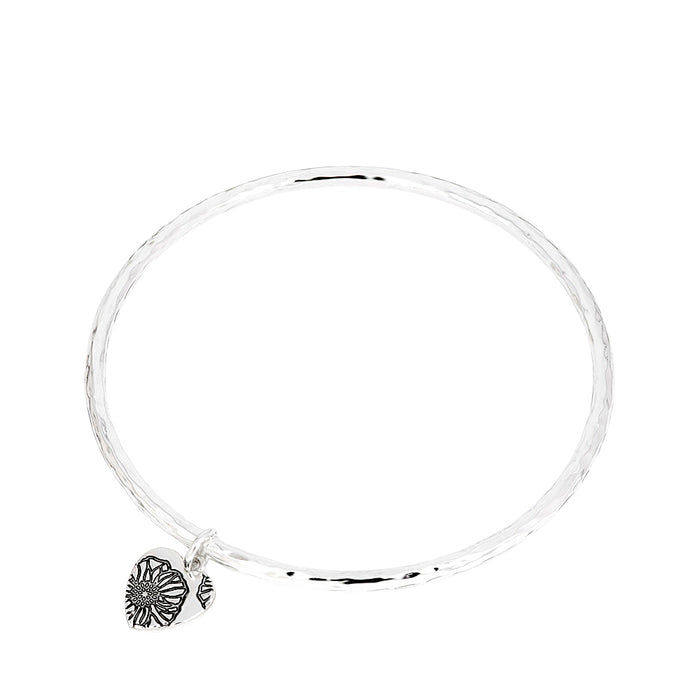 Poppy Floral Disc Heart Bangle