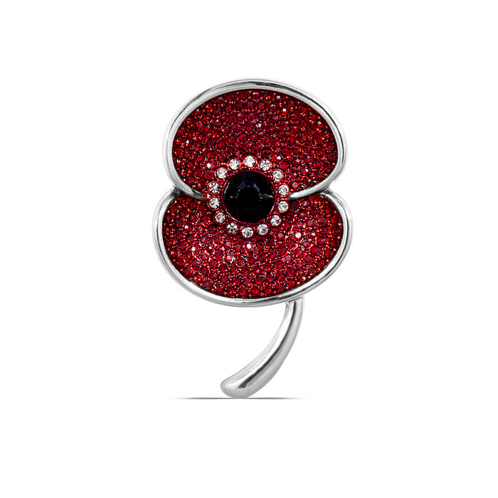 The Poppy Collection ® Vintage Poppy Brooch Medium Silver Tone