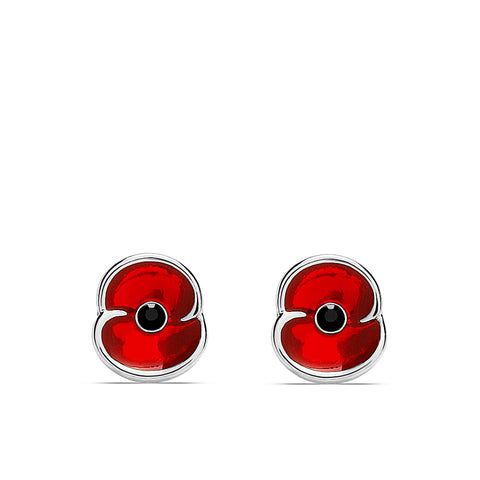 The Poppy Collection ® Enamel Earrings Silver Tone